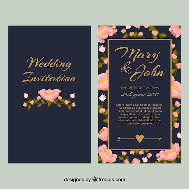 ダークブルーの結婚式招待状とピンクの花 無料ベクター