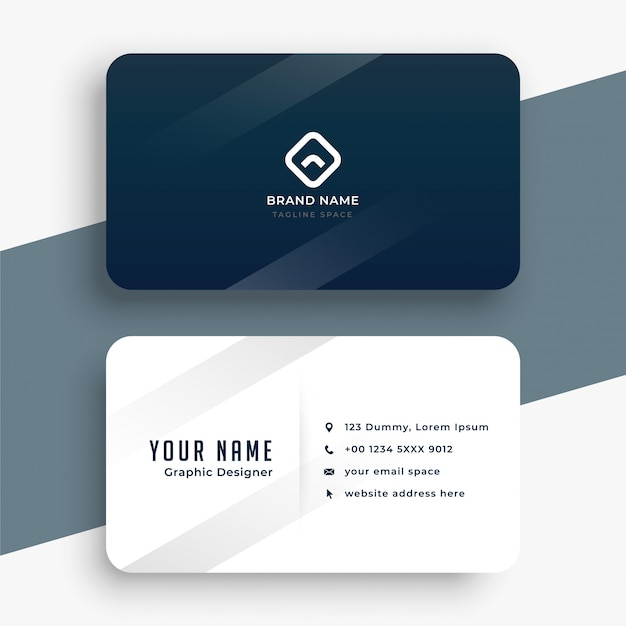 Dark blue and white simple business card design Free Vector
