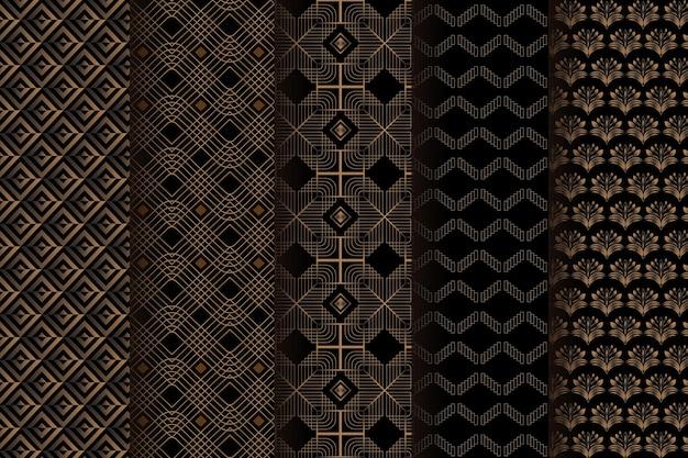 Dark brown art deco pattern template Premium Vector