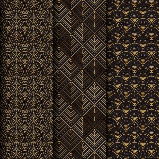 アールデコのシームレスパターンのダークブラウンコレクション Premiumベクター