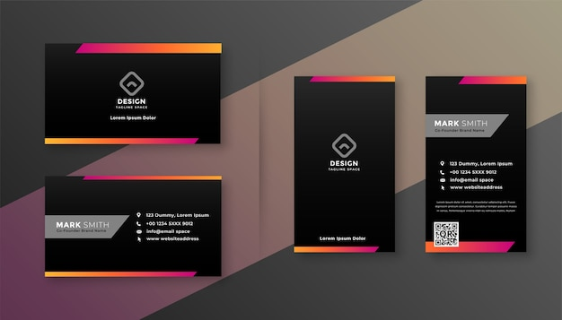 Dark business card design with colorful shape Free Vector