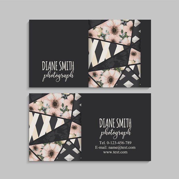 Dark business card with beautiful flowers and geometric elements. Free Vector