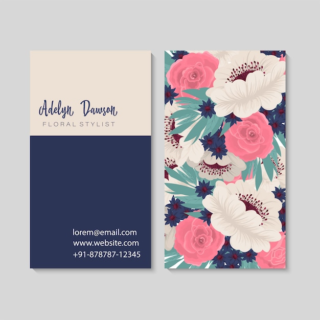 Dark business card with beautiful flowers Premium Vector