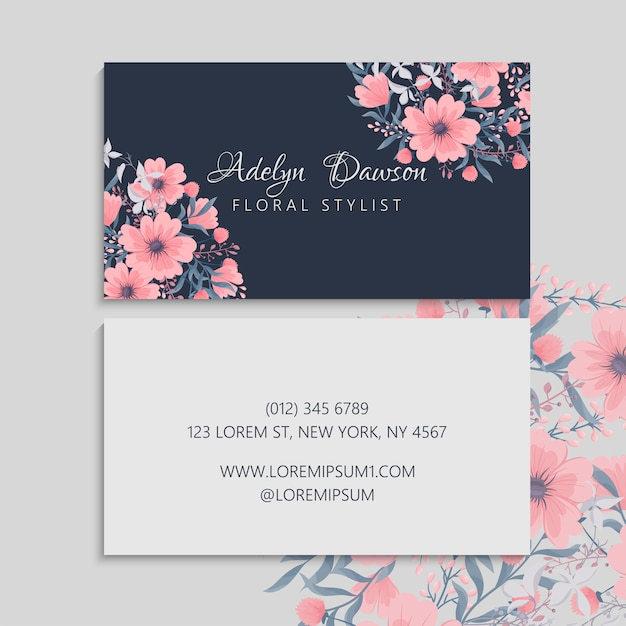 Dark business card with beautiful flowers Free Vector