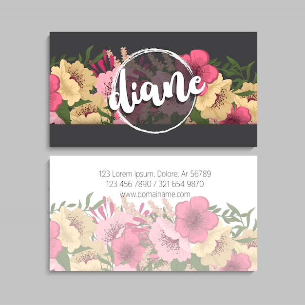 Dark business card with beautiful flowers. Free Vector
