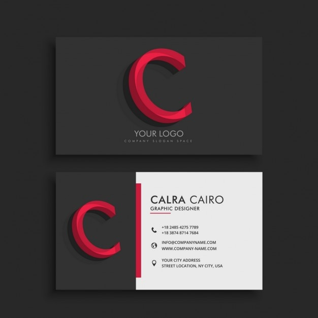 Dark business card with letter c vector free download dark business card with letter colourmoves Choice Image