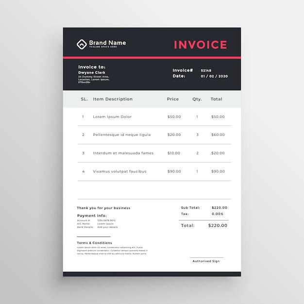 Dark business invoice vector template Free Vector