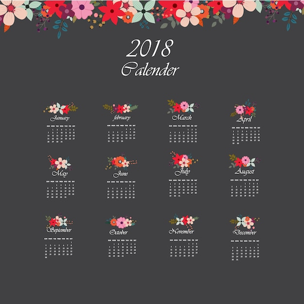 Dark calendar 2018 with floral design Premium Vector