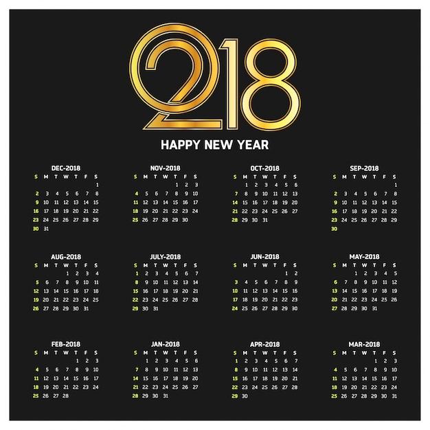 Dark calendar for 2018