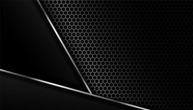 Dark carbon fiber background with metal lines Free Vector