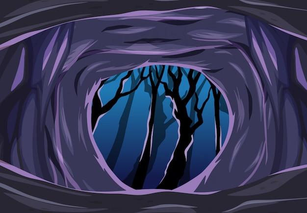 Dark cave with some dark tree cartoon style scene Free Vector
