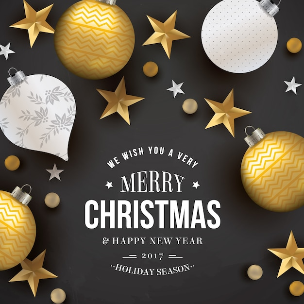 Dark christmas card with golden stars and baubles Free Vector
