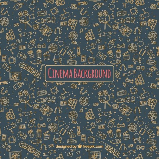 Dark cinema background with hand-drawn elements Free Vector
