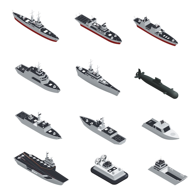 Dark color military boats isometric isolated icon set Free Vector