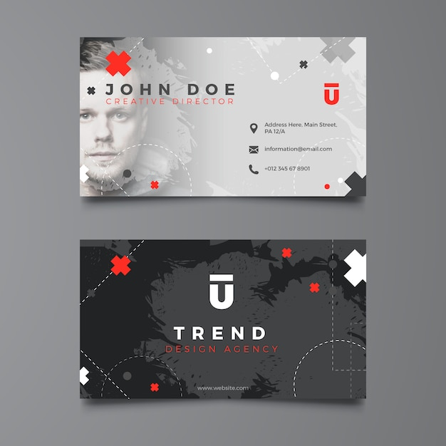 Dark corporate business card template Free Vector