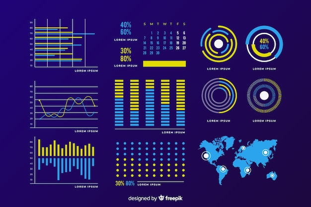 Dark dashboard element collection Free Vector