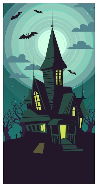 Dark dilapidated gothic building on full moon illustration Premium Vector