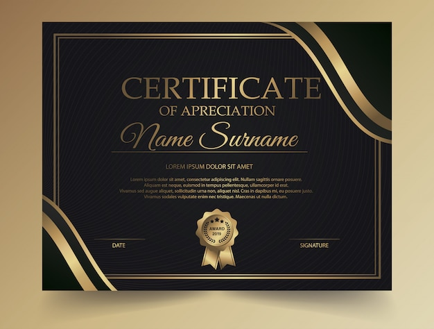 Dark diploma certificate creative design with award symbol Premium Vector