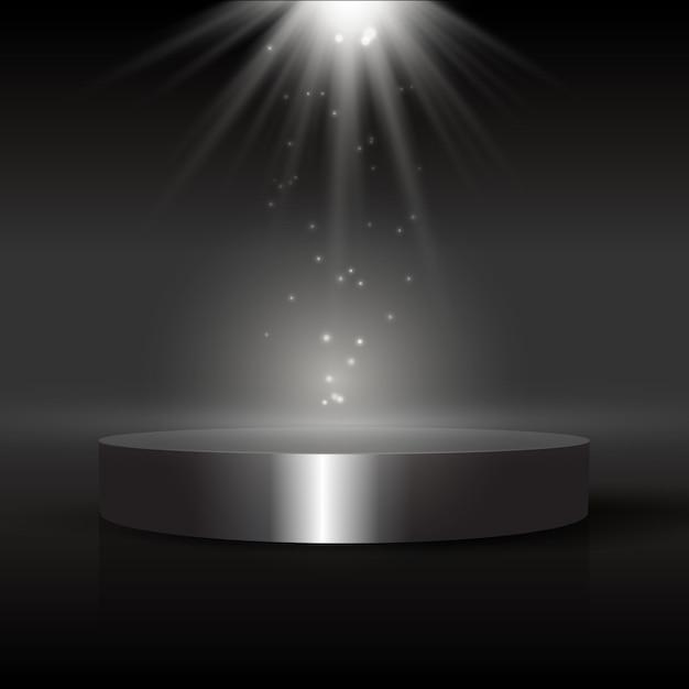 Sfondo scuro del display con podio sotto i riflettori Vettore gratuito