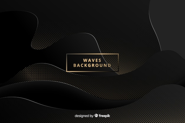 Dark dotted waves background Free Vector
