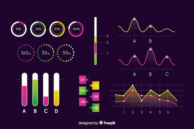 Dark evolution infographic elements template Vector | Free