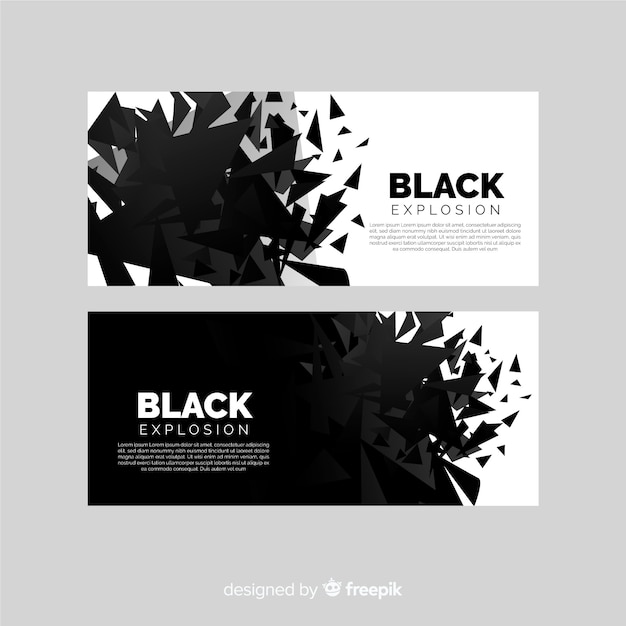 Dark explosion banner collection Premium Vector