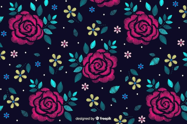 Dark floral decorative embroidery background Free Vector