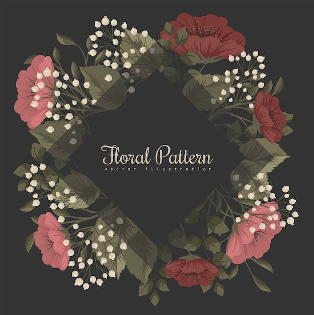 Dark floral frame with red and white flowers Free Vector