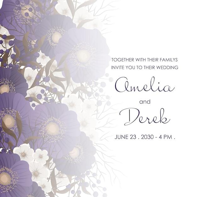 Dark floral wedding border Free Vector
