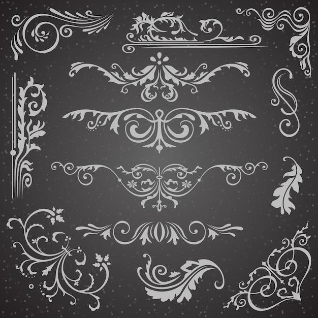 Dark flourish border corner and frame elements collection Premium Vector