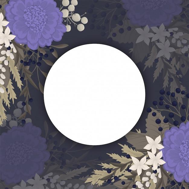 Dark flower background - blue flowers circle border Free Vector