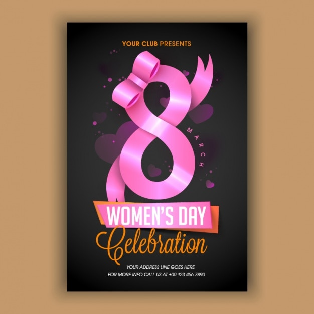 Dark flyer template with pink ribbon for women's day Premium Vector