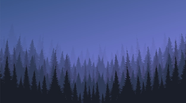 松の森と星と暗い霧の風景の背景 Premiumベクター