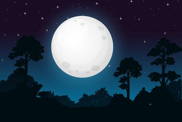 A dark full moon night Free Vector