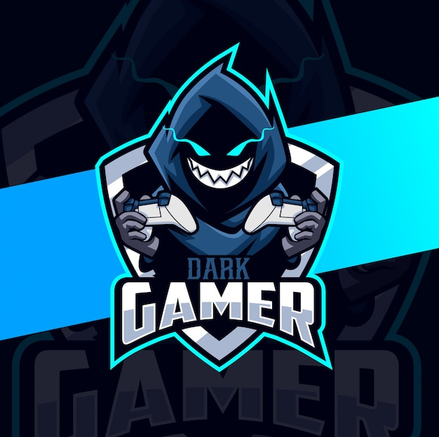 Dark gamer cloak mascot esport logo design Premium Vector