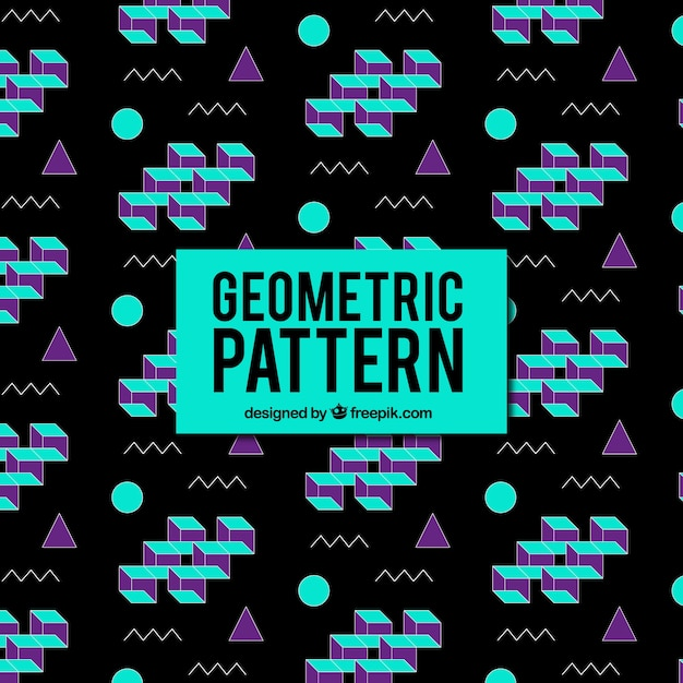 Dark geometric pattern with colored shapes