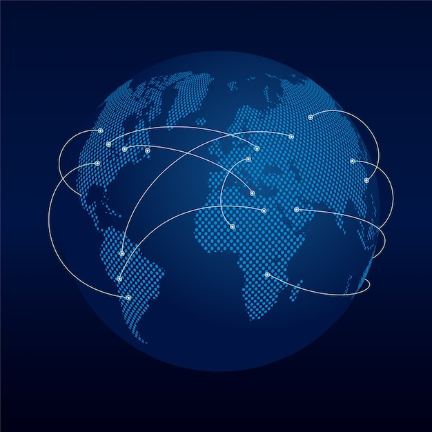 Dark globe with connection lines Free Vector