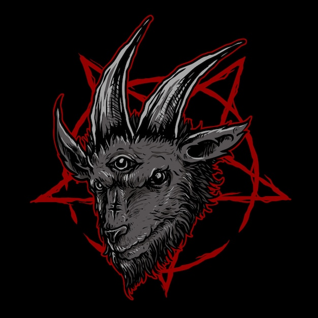 Dark goat head illustration Premium Vector