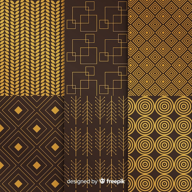 Dark and gold luxury geometric collection Free Vector