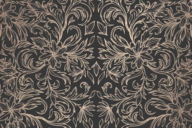 Темно-золотой декоративный цветочный фон Бесплатные векторы