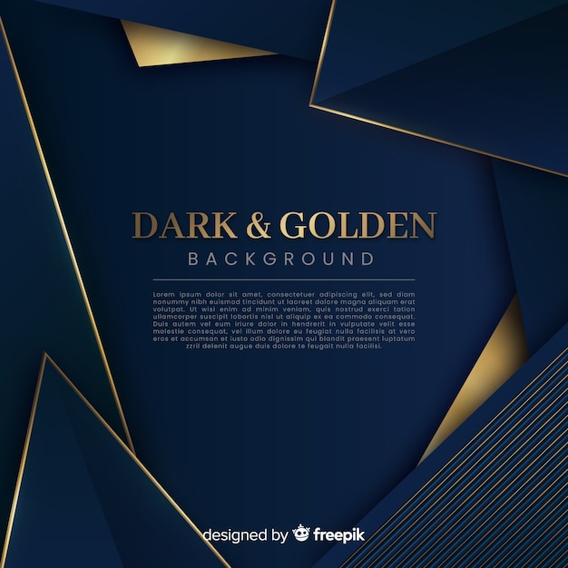 Dark and golden polygonal background Free Vector