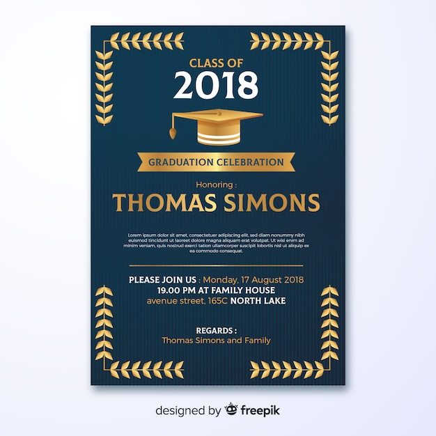 dark graduation party invitation template free vector