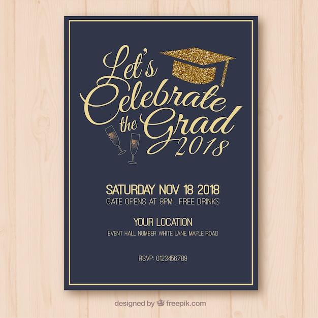 Dark graduation party invitation Free Vector