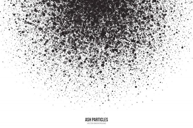 Dark gray ash particles on white background Premium Vector