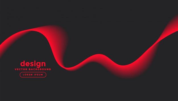 赤い波のデザインと暗い灰色の背景 無料ベクター