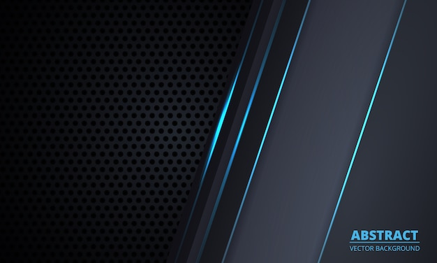 Dark gray carbon fiber technology background with blue luminous lines and highlights. Premium Vector