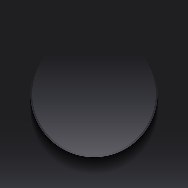 Dark gray circle round note label paper cut style Premium Vector
