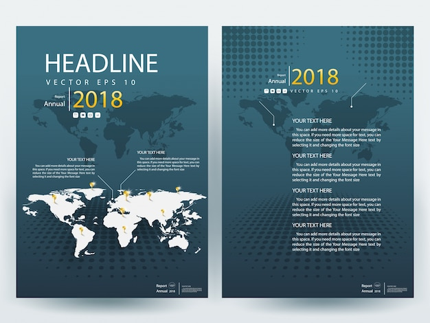 Dark green a4 brochure layout template with world map vector dark green a4 brochure layout template with world map premium vector gumiabroncs Choice Image