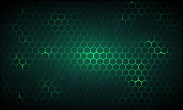 진한 녹색 기술 육각형 배경입니다. 프리미엄 벡터