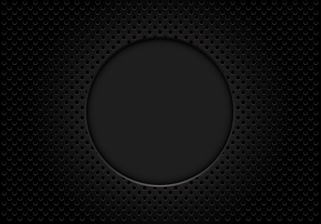 Dark grey circle blank space on metallic mesh background. Premium Vector